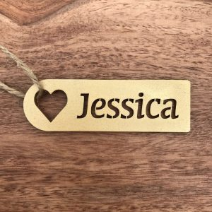 Wooden Heart Stencil Place Name / Gift Tag