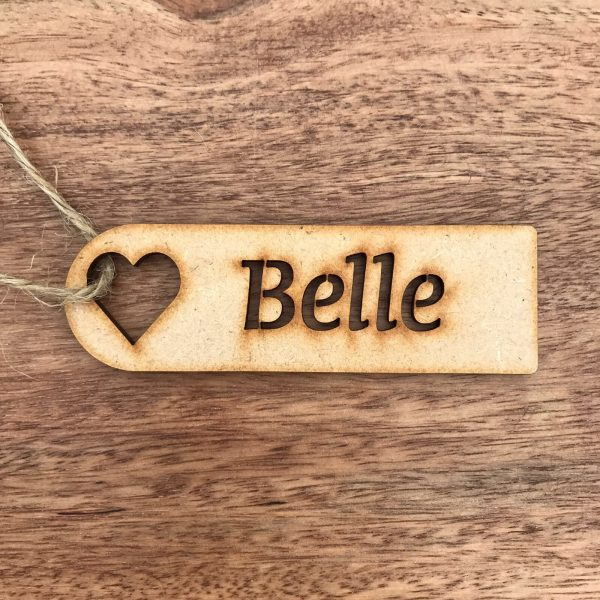 Wooden Heart Place Name / Gift Tag