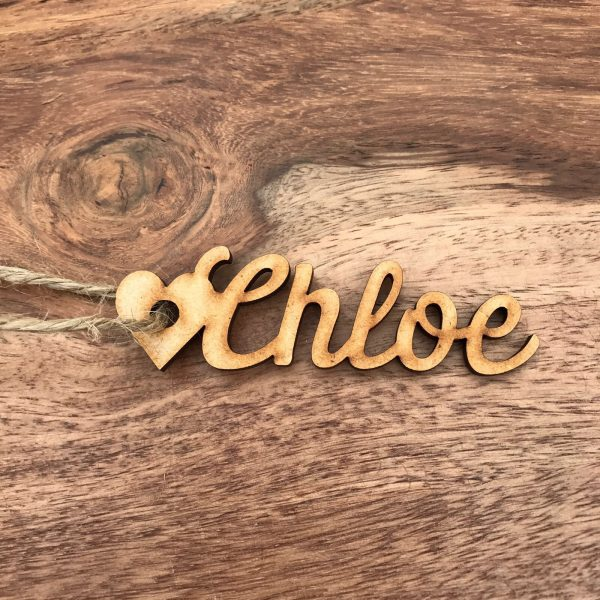 Script Wooden Heart Place Name / Gift Tag
