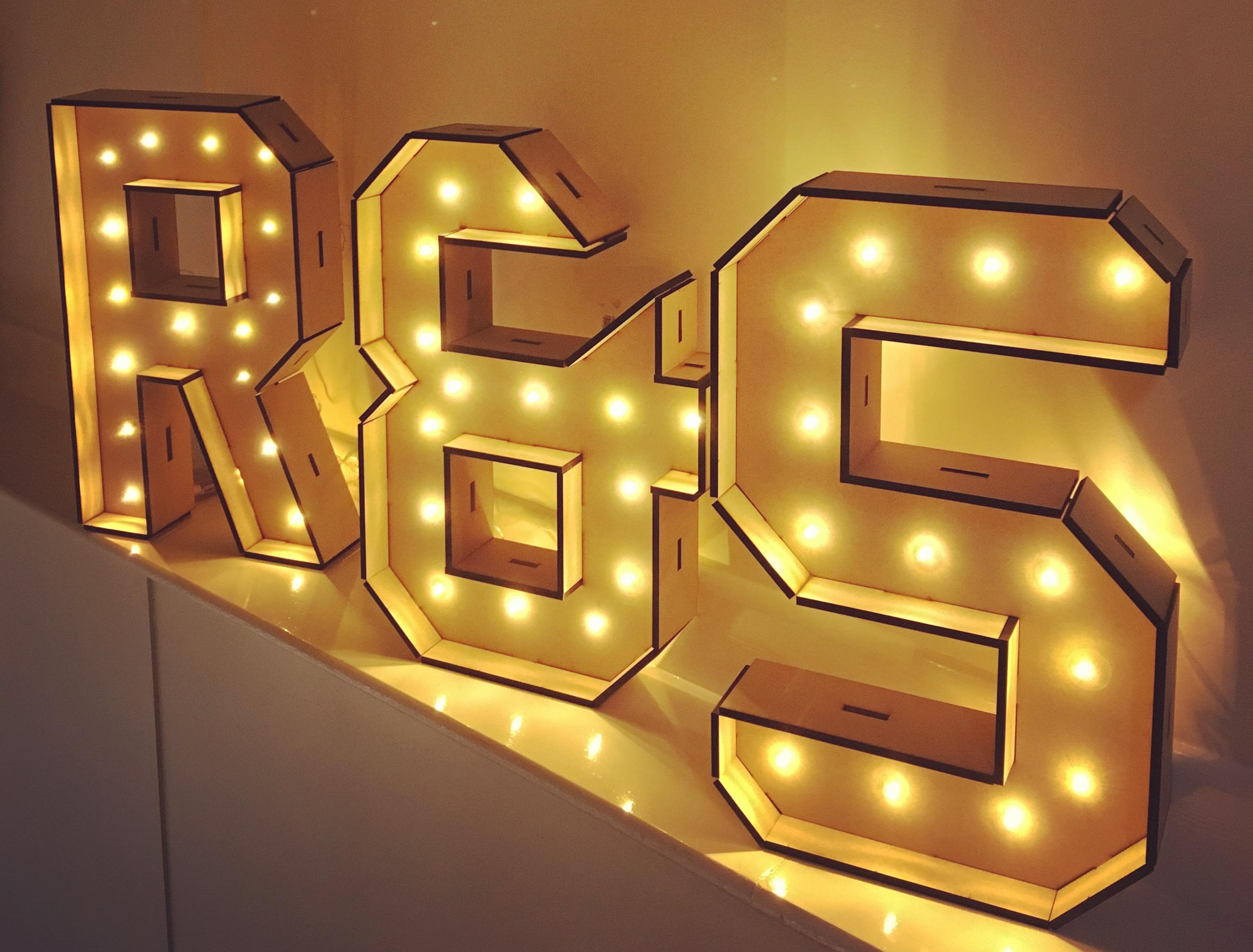 Gold Lit Letters Large Standing Light Up Letters  Battery Powered  Confetti Print