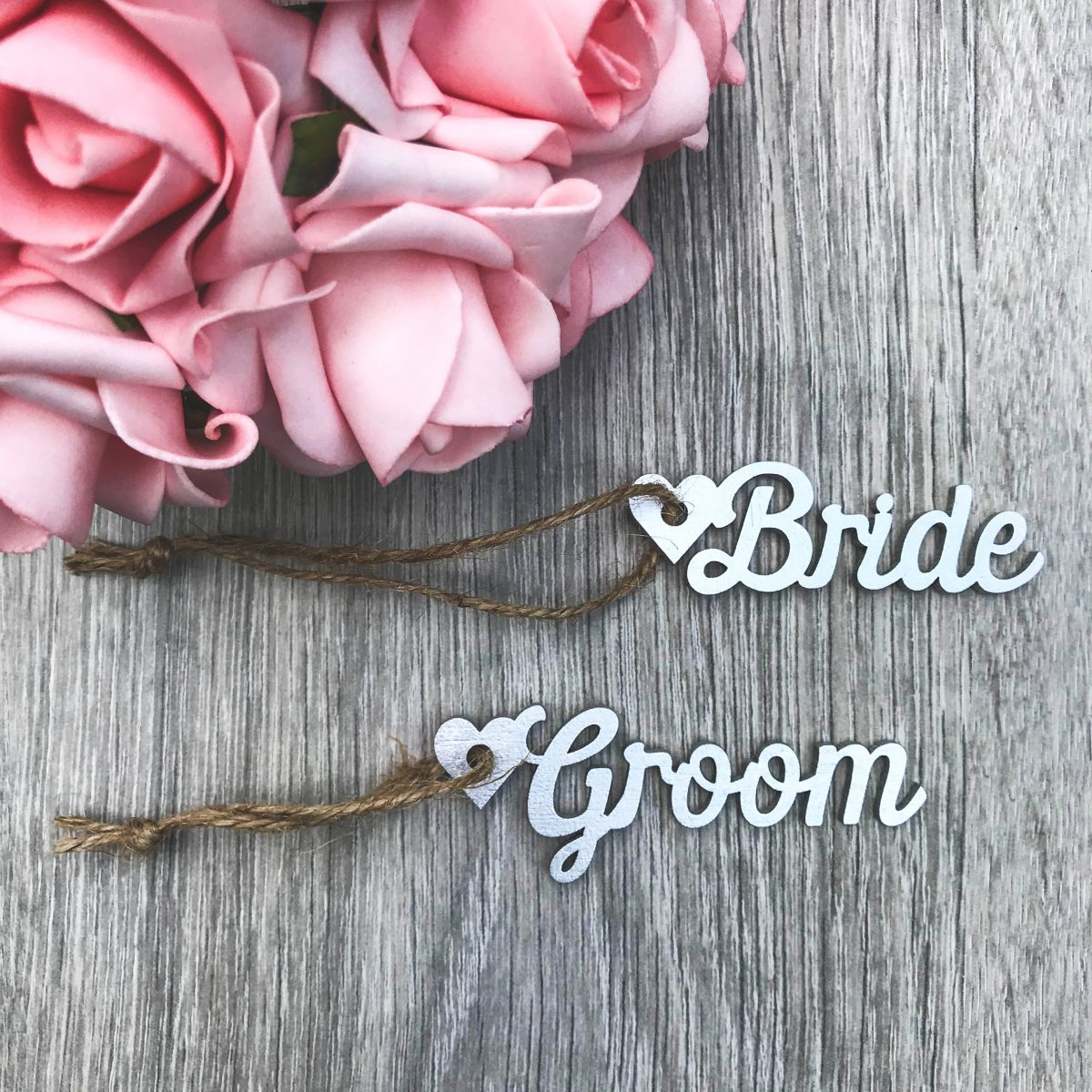 Script Wooden Name Heart Gift Tags