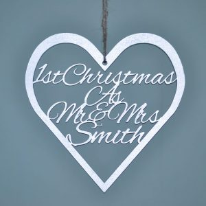 1st Christmas As Mr & Mrs Hanging Heart Sign