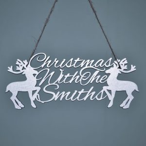 Reindeer Christmas With.. Hanging Sign