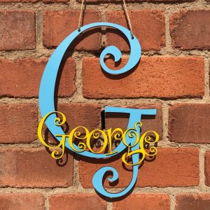 Large Curly Personalised Children's Decoration