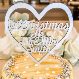 1st Christmas Heart Cake Topper