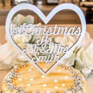 1st Christmas Heart Cake Topper