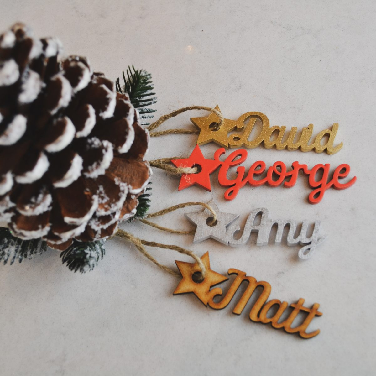 Script Wooden Name Star Place Name / Gift Tag