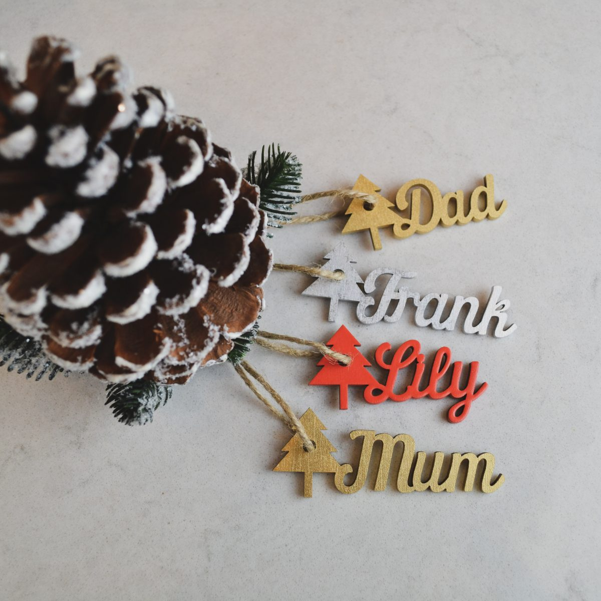 Script Wooden Name Tree PlaceName / Gift Tag