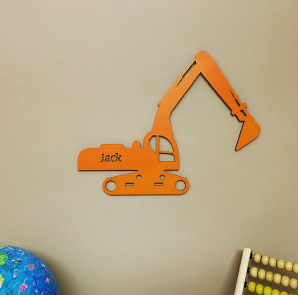Large Excavator Personalised Name Sign