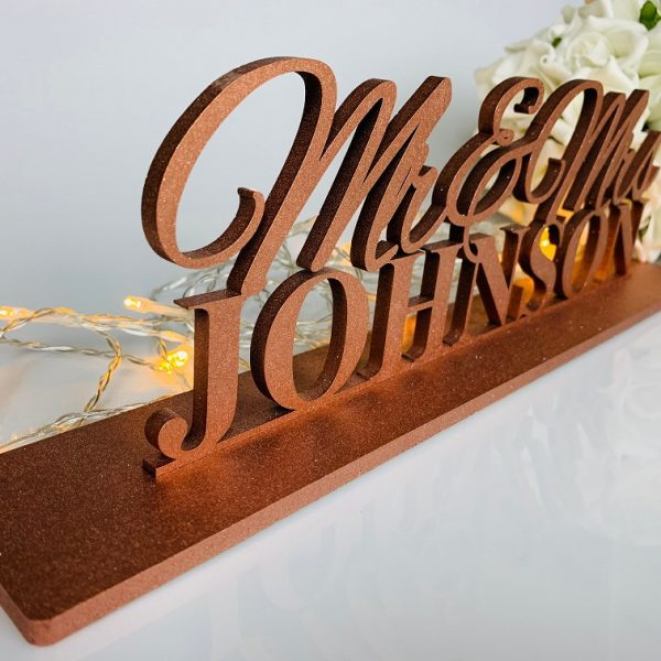 Personalised Modern Standing *Mr & Mrs Sign