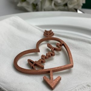 Cupid Heart Wooden Place Name