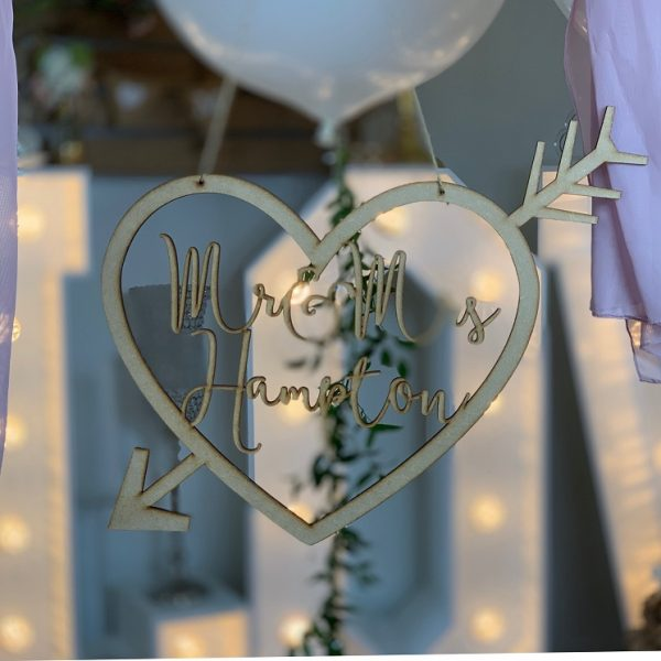 Cupid Heart Personalised Hanging Sign Extra Large