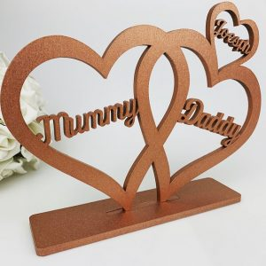 Personalised Standing Script 3 Love Hearts