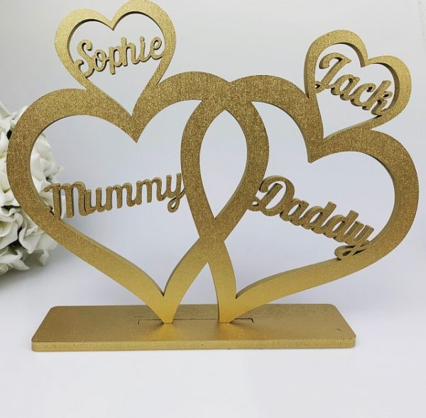Personalised Standing Script 4 Love Hearts