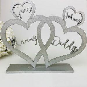 Personalised Standing Boho 4 Love Hearts