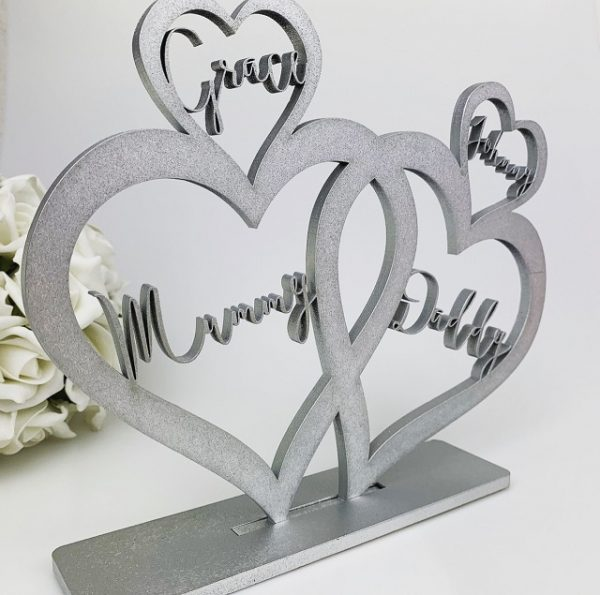 Personalised Standing Boho 4 Love Hearts