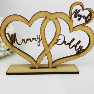 Personalised Standing Boho 3 Love Hearts