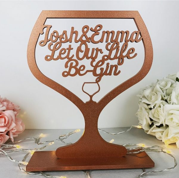 Personalised Standing Be-Gin Glass Sign