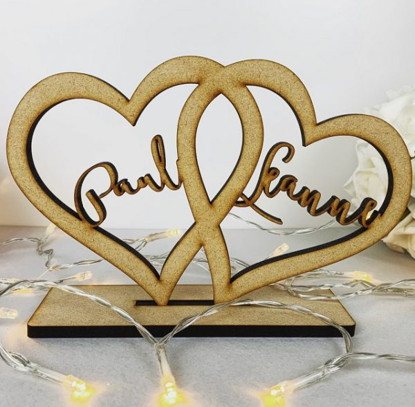 Personalised Standing Boho Love Hearts