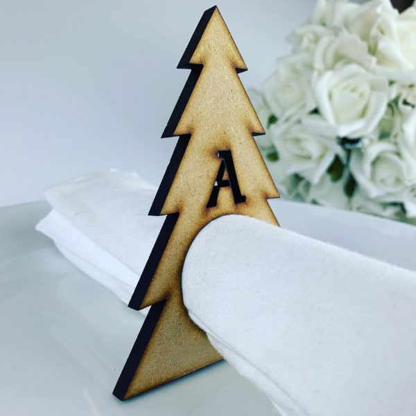 Wooden Personalised Christmas Tree Napkin holder