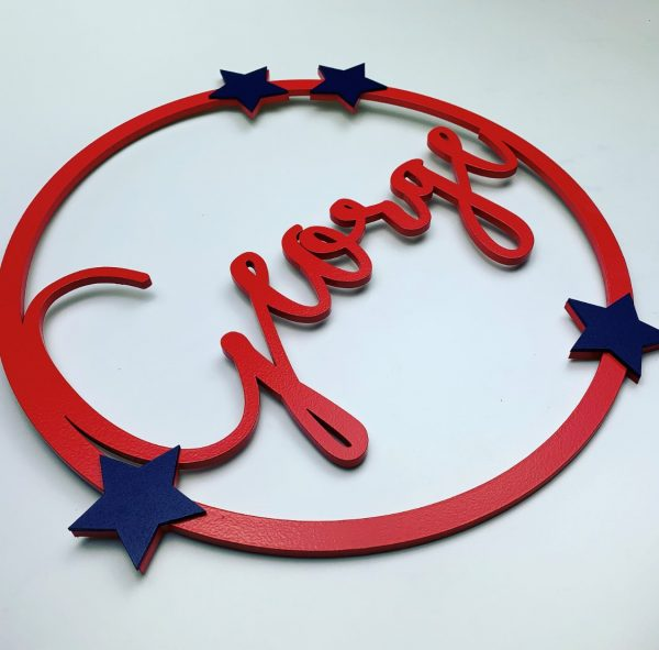 Round Personalised Hanging Name Sign Large