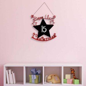 Days Until Christmas Star Chalkboard Hanger