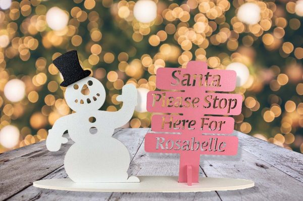Personalised Snowman Santa Stop Here Sign