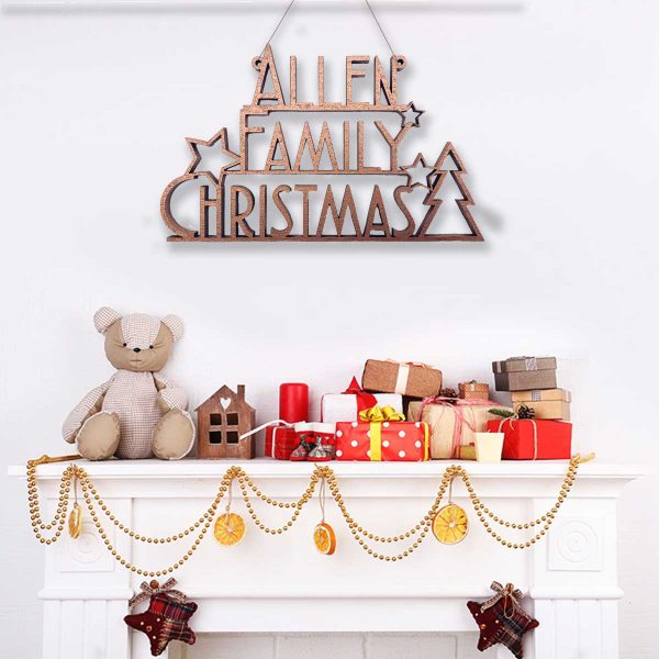 Art Deco Family Christmas Sign