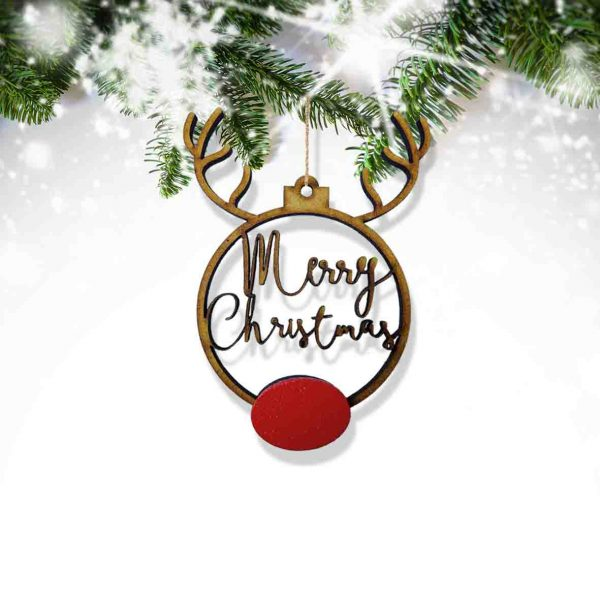 Rudolph Merry Christmas Boho Small Bauble (6 Pack)