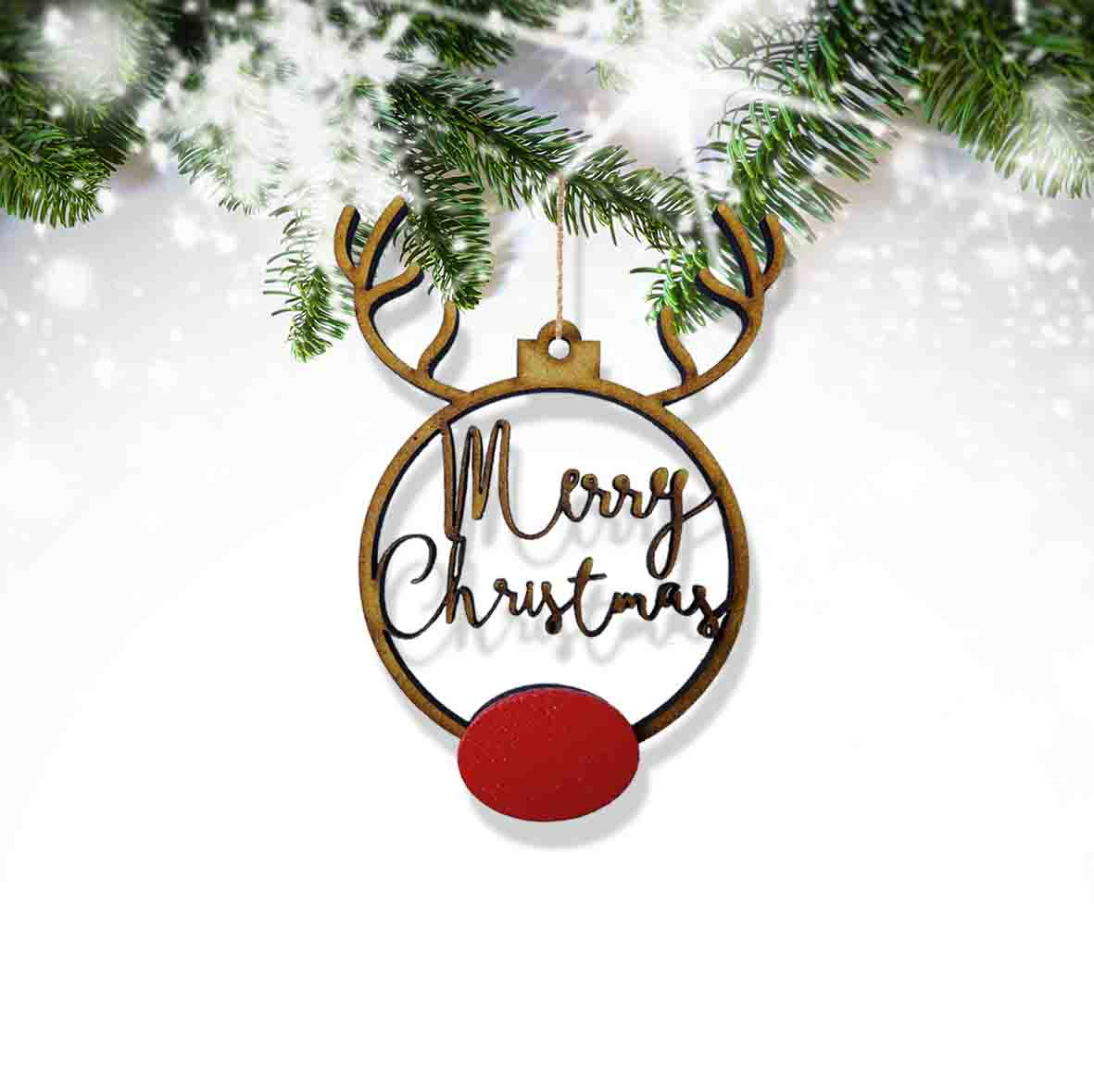 Rudolph Merry Christmas Boho Small Bauble 12 Pack Confetti Print