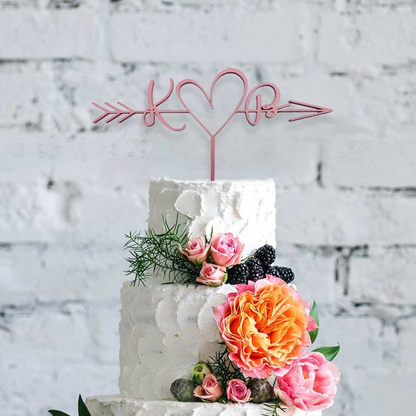 Cupid Heart Modern Wooden Cake Topper