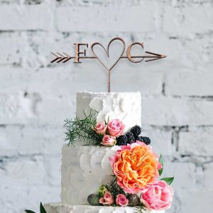 Cupid Heart Classic Wooden Cake Topper
