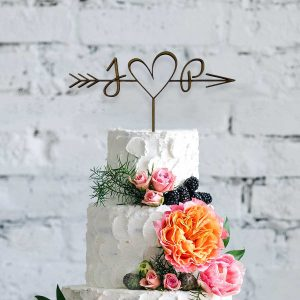 Cupid Heart Modern Wooden Cake Topper