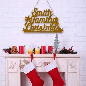 Family Christmas Hanging Sign