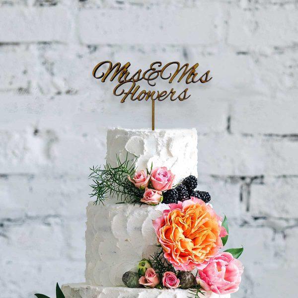 Romantic Script Wooden Cake Topper