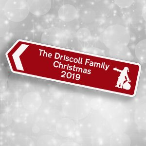 Christmas Personalised Hanging Road Sign