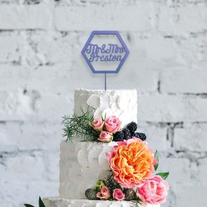 Hexagon Wooden Cake Topper