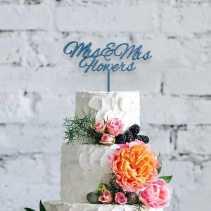 Romantic Script Wooden Cake Topper
