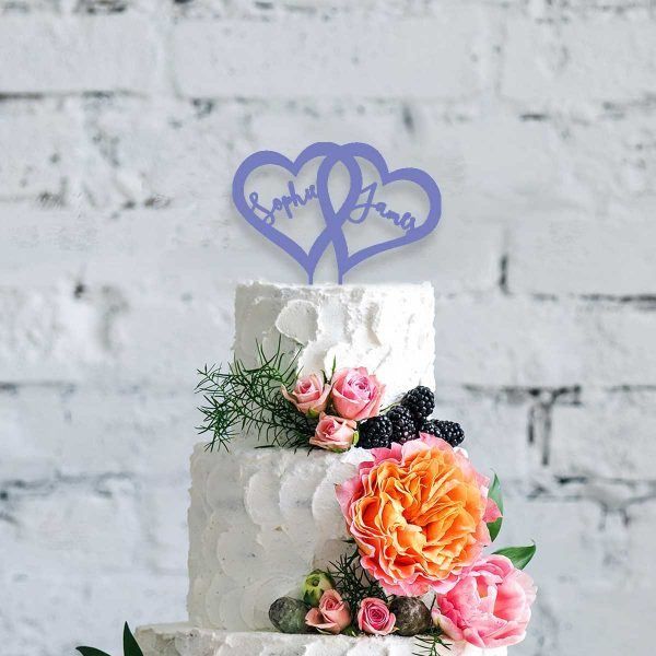 Double Heart Wooden Cake Topper