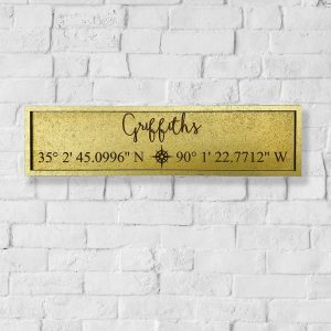 GPS Coordinates Surname Sign
