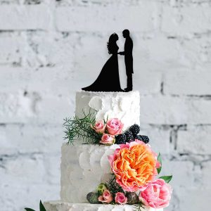 Silhouette Bride & Groom Wooden Cake Topper