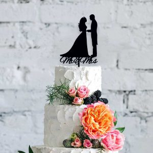 Silhouette Mr & Mrs Wooden Cake Topper
