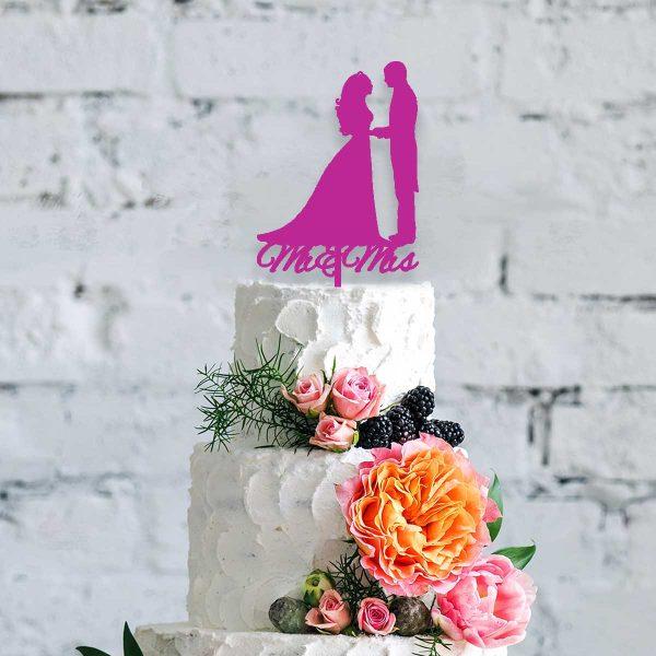 Silhouette Mr & Mrs Wooden Cake Topper