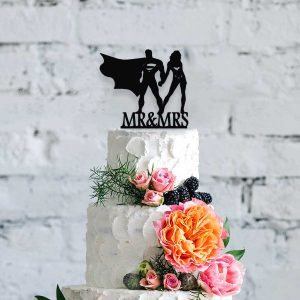 Silhouette Superheroes Mr & Mrs Wooden Cake Topper