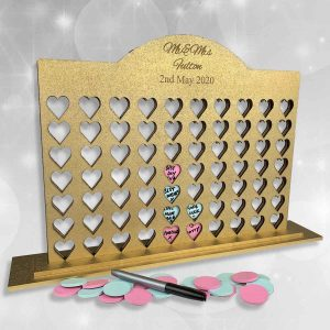 Personalised 4 In A Row Heart Guestbook