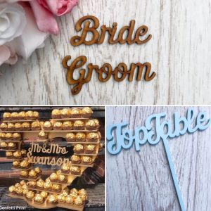 Personalised Ferrero Sweet Stand, Place Names & Table Names / Numbers Script Style Wedding Bundle