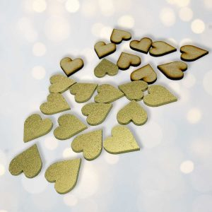 Wooden Heart Table Confetti x50