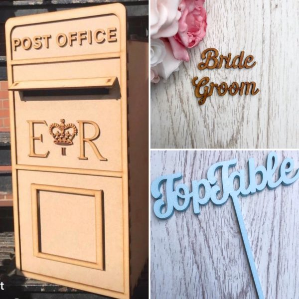 Flat pack Postbox, Place Names & Table Names / Numbers Script Style Wedding Bundle