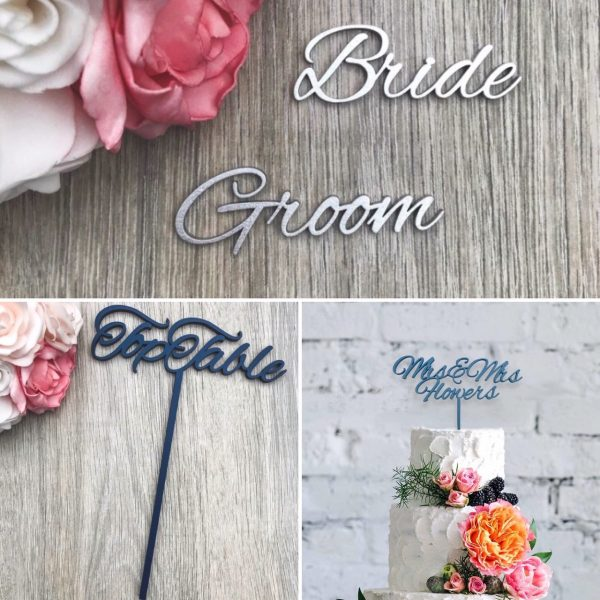 Romantic Script Style – Names, Table Names / Numbers & Cake Topper Wedding Bundle