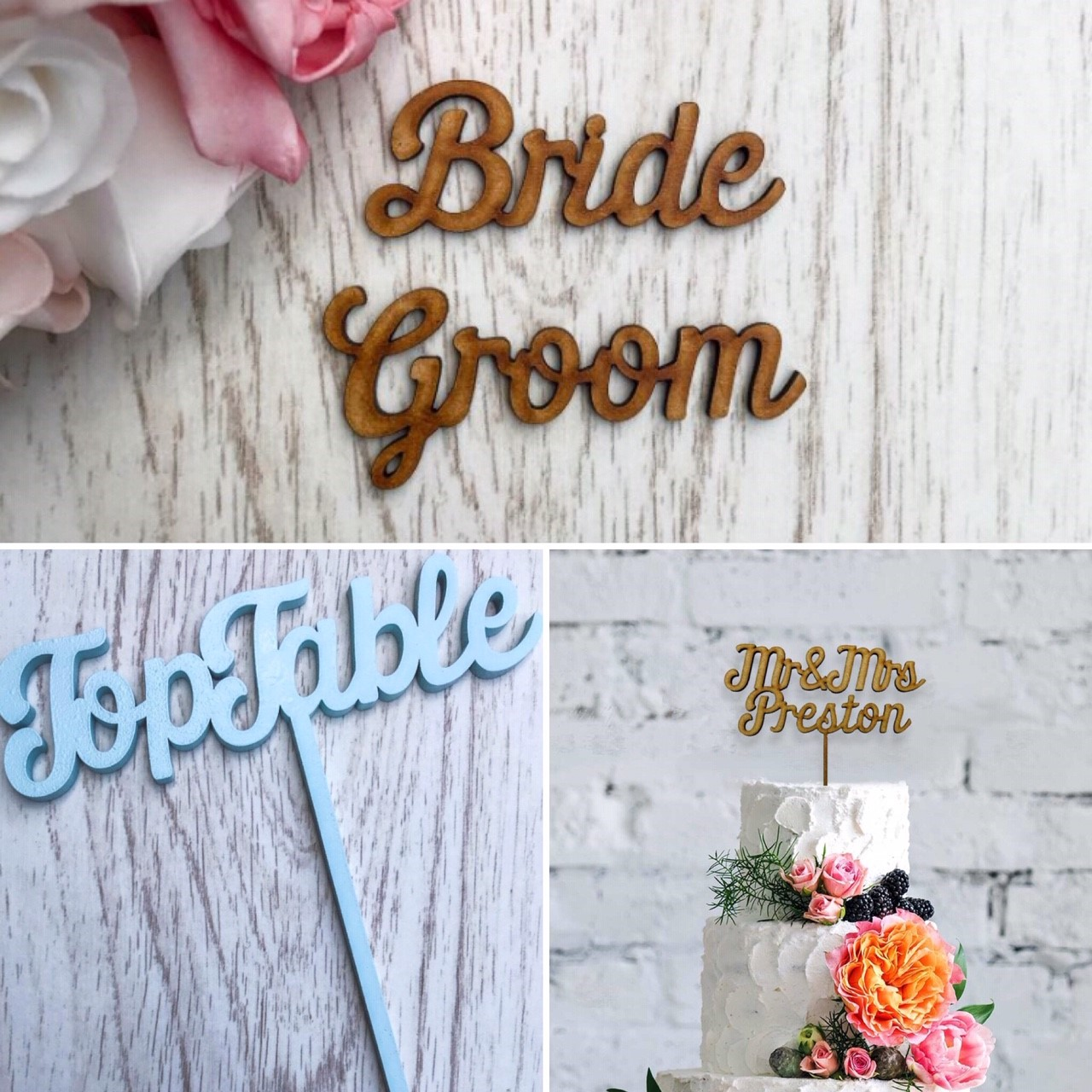 Wedding Hairstyle Names: Names, Table Name / Numbers & Cake Topper
